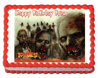 Zombies party decoration edible cake image cake topper decoration frosting sheet