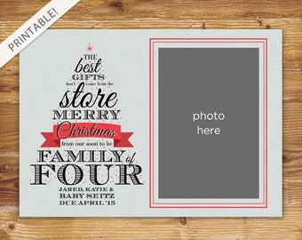 Typographic Christmas Tree Pregnancy Announcement with Photo - Holiday Card - Christmas Card - Family of Four - New Baby