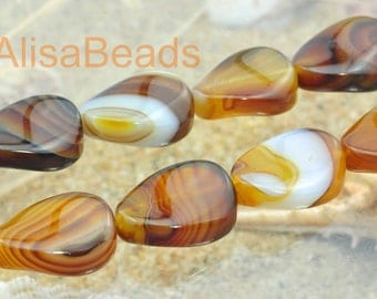 Banded Agate,smooth twist,beads,15 x 20mm,15 inches