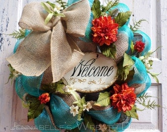 Summer Wreath, Autumn Decor, Fall Wreath, Burlap, Deco Mesh Wreath, Welcome Sign, Turquoise, Chocolate Brown, Burnt Orange