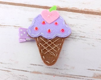 Felt ice cream hair clip, ice cream cone, girls hair accessory,girls hair clip, purple hair clip, toddler clip, girl clip, uk seller