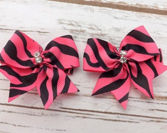 Girls pink zebra print bow hair clips, ribbon bows hair accessory, tuxedo hair clips, hot pink hair bow, UK seller, girls hair clip