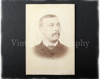 Cabinet Card Photograph of a Mustached Young Man - A. W. Cox Nottingham