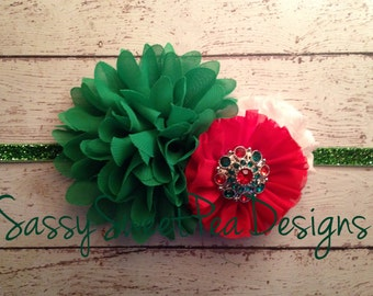 Holiday Chiffon and Glitter Headband..My First Christmas Headband..Christmas Wedding Headband..Holiday Bow