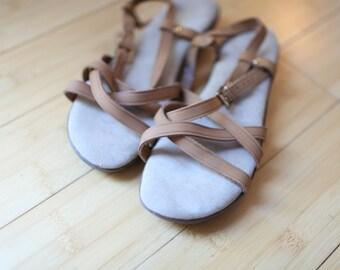 vintage sanjuns strappy  tan leather sandals womens 9