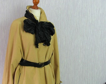 Cape Coat Mustard Trench Avant Garde 90s, raglan shoulders, black scarf, Large size Clothing 16 UK, 12 US,