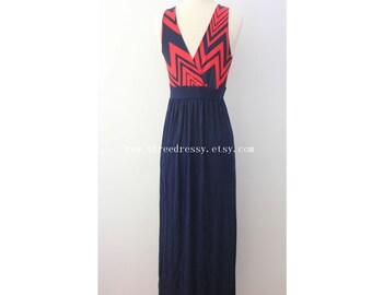 Clearance SALE Chevron Maxi Dress Causal Maxi Dress Long Dress Maxi Dress Sundress formal dress party dress summer beach time