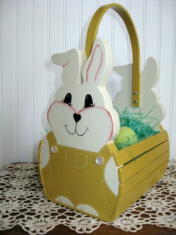 Handmade Wooden Easter Baskets : Personalized handmade wooden children s easter by