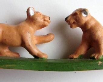 Lion Cubs Figurine Britains Ltd. Plastic 1970's England Animal