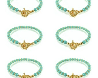 Bridesmaid bracelet set of 6, Gold turquoise bracelet, Turquoise bridesmaid bracelets, Cheap bridesmaids gifts