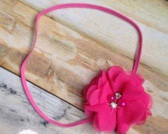 Hot Pink Chiffon Newborn Headband