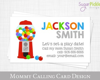 Mommy Calling Card, Play Date Card, Gumball Kids Calling Card, Business card for Moms, Mom of cards, Child business card, Printable JPEG