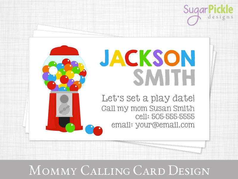 Mommy calling card play date card gumball kids calling card for Mommy business cards