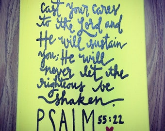 Psalm 55:22 on Wrapped Canvas Cast your Cares