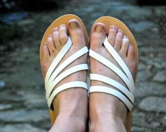 White womens slide sandals, leather summer flats