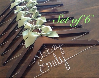 HUGE SALE/Set of 6 SALE Personalized Wedding Hanger/ Brides Hanger/ Bride/ Name Hanger/ Wedding Hanger/32 Ribbon Colors