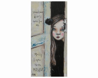 Open Doors art print, Acrylic art print, fine art, canvas art print, Giclee print from original acrylic painting, girl painting.