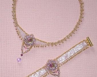 pink formal necklace and bracelet ensemble pattern PDF