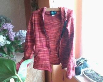 Second hand zipper vest in red and orange tones
