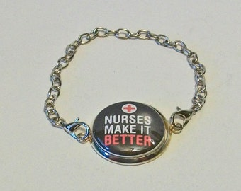 New Black and Red Nurses Make It Better Silver Chain Fashion Bracelet