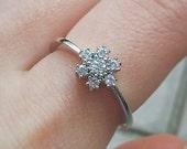 Clearance SALE US SIZE 6 snowflake ring flower cubic zirconia silver ring