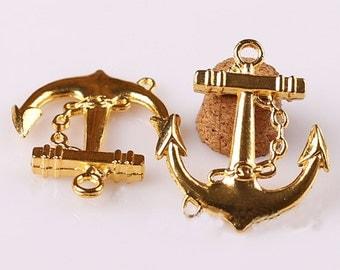 15pcs 27x31mm 16k gold Anchor Charm pendant