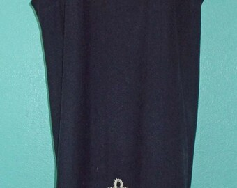 "60s Plus Size""Lane Bryant"" Navy Blue Italian Wool Ladie Shift/Jumper — Size XL, 16-18"