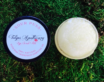 Pink Grapefruit Essential Oil Exfoliating Lip Scrub with Coconut Oil- spa gift for her, mothers day gift, dry lip relief