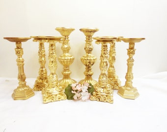 Set of 8 Gold Pillar Candle Holders Hollywood Regency Decor/ Gold Wedding Candles/ Pillar Candle Holders