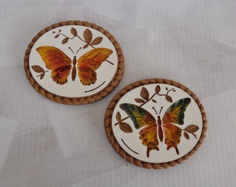 Vintage Round Butterflies Hanging Plaster Wall Plaques © 75 Modern Art Co. Inc.