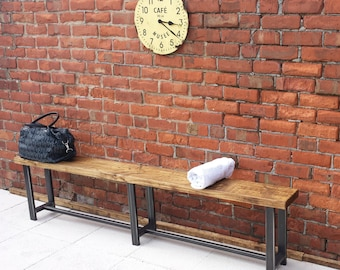 Large hallway bench ideal for waiting rooms wood & metal rustic industrial style