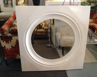 Vintage Modern Molded Plastic White Lacquered Mirror