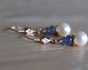 Freshwater pearl drop earrings, tanzanite dangle earrings, 14k rose gold fill lever back ear wires, gift for her, pearl jewelry, tanzanite