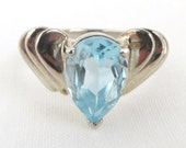 Size 8 Vintage Aquamarine Sterling Silver Ring