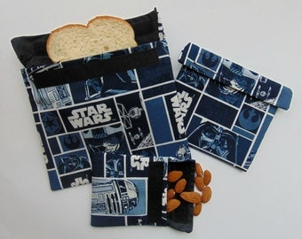 Star Wars Reusable Snack and Sandwich Bags, Reusable Snack Bag Set of Three, Snack Bags