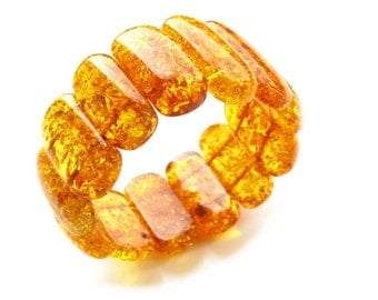 Baltic amber bracelet congac wide large beads 18 cm (7,1'') 44,8 grams (1,5 oz) Amber jewelry genuine authentic AC24/1