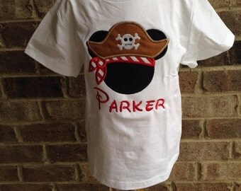 "READY TO SHIP!! 4t Pirate Mickey Shirt ""Parker"""