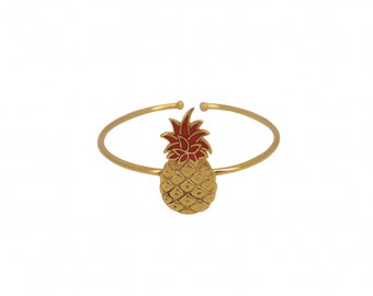 "Pineapple ""Tropical Pineapple"" Bangle in vermeil and coral resin resulted!"
