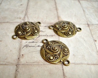 6 Antique Bronze Connectors Swirl Carved Dot Pattern - LAST PACK