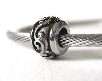 Stainless Steel Swirls European Charm Bead