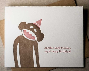 Letterpress Zombie Sock Monkey birthday card (#ZSM002)