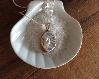 Gorgeous Spanish Sea Glass pottery necklace with Keshi pearl and Swarovski crystal-Sterling Silver