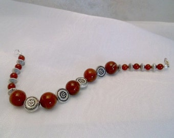 Carnelian and Carved Silver Disk 8 inch Bracelet.  One of a kind.