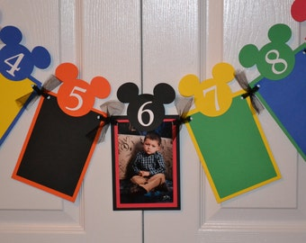 Mickey Mouse Inspired Photo Banner Newborn through 12 Month  - Mickey Mouse Inspired Birthday Party