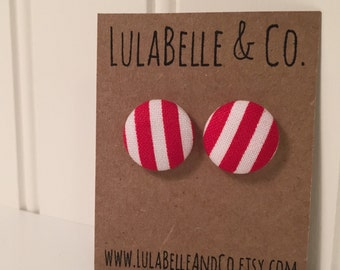 Red & White Stripes Button Earring