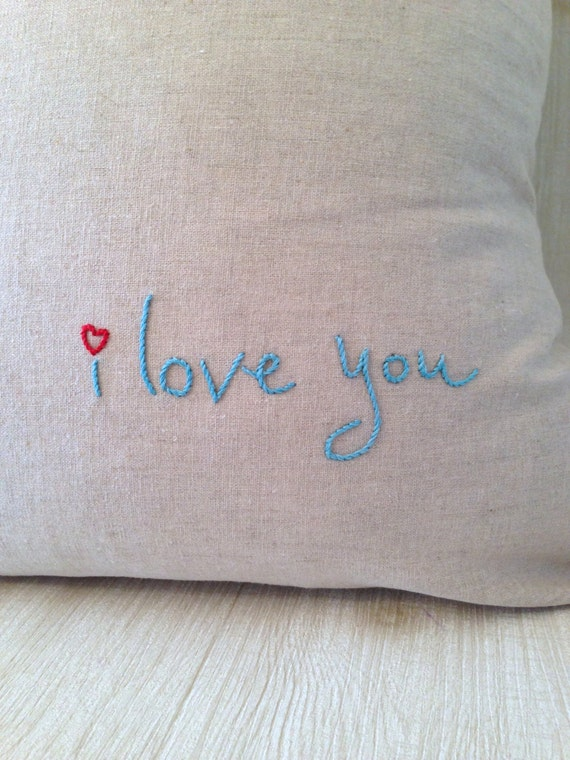 embroidered pillow cover . personalized . i love by Embroiderwee