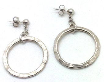 Hammered Sterling Earrings, Sterling Silver, Hoops, Posts, Goes With Everything, Gift Ideas, Hammered Metal