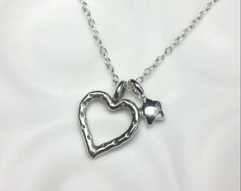 Heart & star necklace / Sterling Silver pendant / Heart necklace / Silver necklace /  Simple modern / Handmade in the UK / karmasilver
