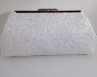 White Sequin Lace Clutch Purse with Silver Tone Frame, Bridal Clutch, Wedding, Special Occasion, Mothers Day Gift,  Bridal Shower Gift