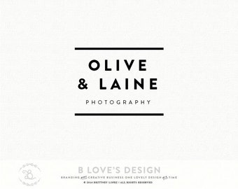 PreMade Customizable Simple Logo San Serif Font Name for Small Business, Photography, Design, Blog Design, Stamp